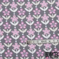 Jersey Coton Elastahanne Imprimé fleurs rose Fond gris souris