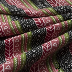 Jersey Coton Elastahanne Imprimé rayure fantaisie multicolore