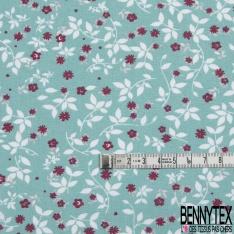 Toile Lorraine 100% coton Impression Motif petite fleur bordeaux Fond vert d'eau