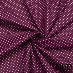 Toile Lorraine 100% coton Impression Motif pois Fond prune