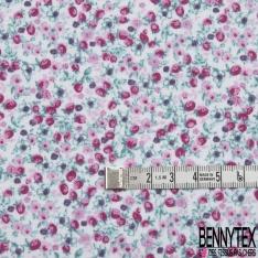 Toile Lorraine 100% coton Impression Motif fleur ton rose