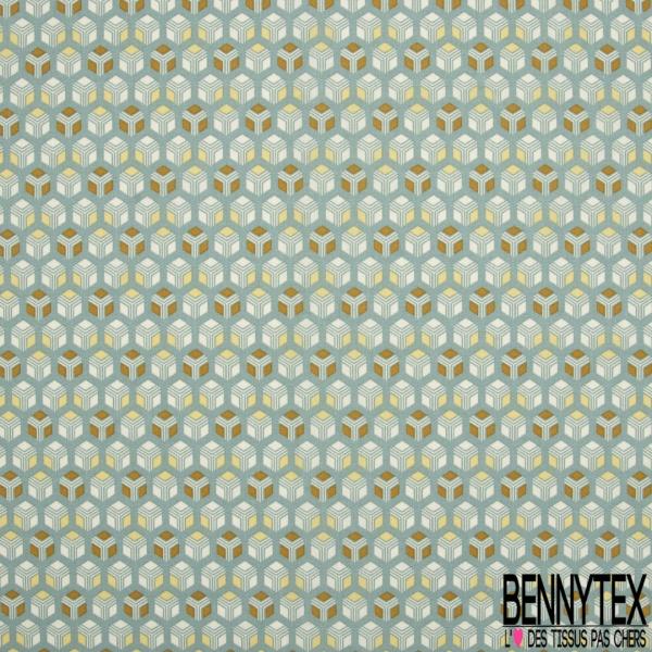 Toile Lorraine 100% coton Impression Motif carré fantaisie Fond vert d'eau