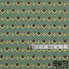 Toile Lorraine 100% coton Impression Motif style ressort Fond vert emeraude