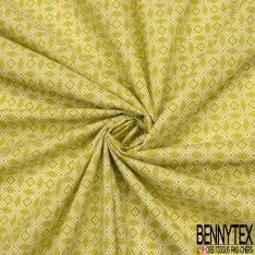 Toile Lorraine 100% coton Impression Motif carré fantaisie Fond anis