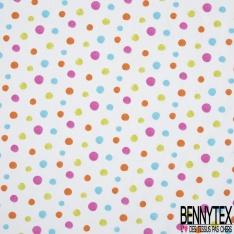Coton Crétonne imprimé Motif pois multicolore Fond blanc