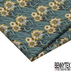 Coupon 3m Coton Crétonne imprimé Motif fleur et algue ton bleu