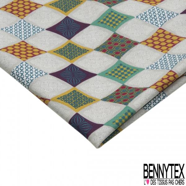 Coupon 3m Coton Crétonne imprimé Motif losange fantaisie multicolore