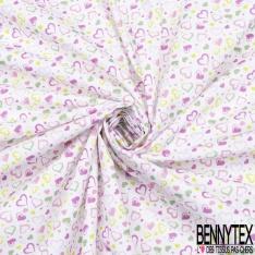 Toile Lorraine 100% coton Impression Motif coeur ton vert et rose