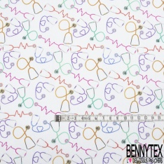 Toile Lorraine 100% coton Impression Motif stéthoscope multicolore