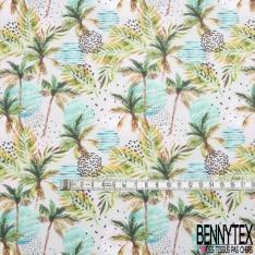 Toile Lorraine 100% coton Impression Motif paysage tropicale fantaisie Fond taupe clair
