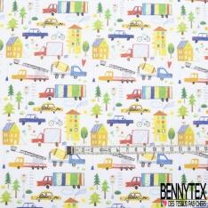 Toile Lorraine 100% coton Impression Motif maison et camion effet dessin Fond blanc