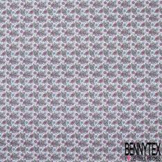 Toile Lorraine 100% coton Impression Motif tête de mort fleurie Fond blanc