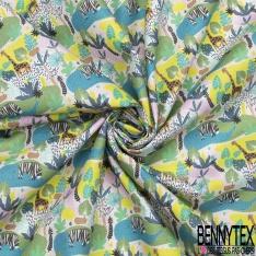 Toile Lorraine 100% coton Impression Motif savane avec girafe et zèbre