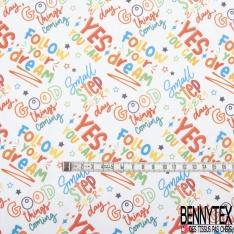 Toile Lorraine 100% coton Impression Motif mots multicolores Fond blanc