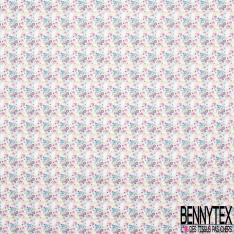 Toile Lorraine 100% coton Impression Motif tête de mort fleurie ton rose Fond blanc