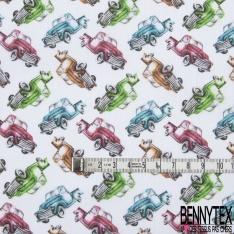 Toile Lorraine 100% coton Impression Motif voiture multicolore Fond blanc