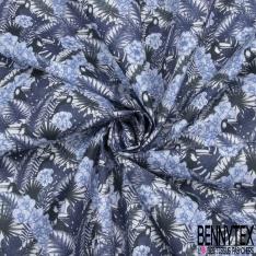 Toile Lorraine 100% coton Impression Motif fleur feuille et toucan ton bleu
