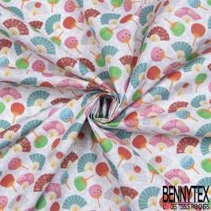 Toile Lorraine 100% coton Impression Motif éventail multicolore