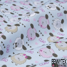 Toile Lorraine 100% coton Impression Motif moutons Fond bleu