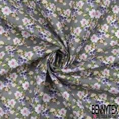 Toile Lorraine 100% coton Impression Motif tête de mort avec couronne de fleurs