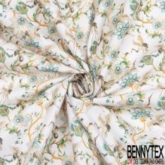 Toile Lorraine 100% coton Impression Motif cigogne et fleur japonaise