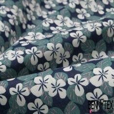 Toile Lorraine 100% coton Impression Motif fleur écru et émeraude Fond marine
