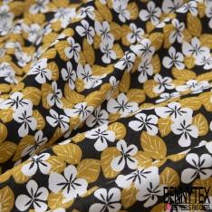 Toile Lorraine 100% coton Impression Motif fleur blanc et moutarde Fond noir