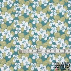 Toile Lorraine 100% coton Impression Motif fleur blanc et kaki Fond turquoise