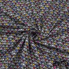 Toile Lorraine 100% coton Impression Motif triangle fantaisie multicolore Fond noir