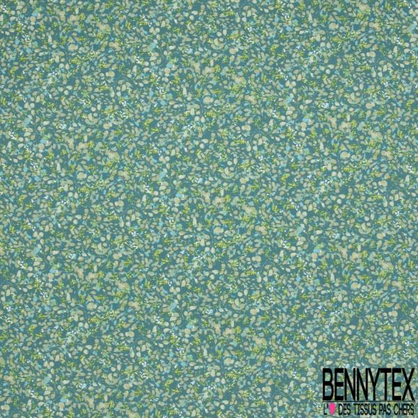 Toile Lorraine 100% coton Impression Motif feuille ton vert Fond turquoise