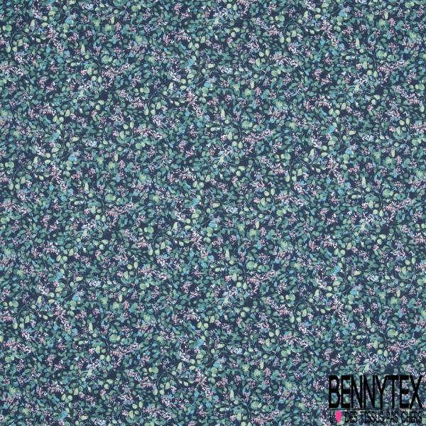 Toile Lorraine 100% coton Impression Motif feuille ton bleu vert et rose