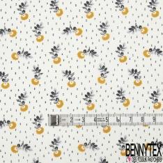 Toile Lorraine 100% coton Impression Motif petite fleur ton moutarde et gris Fond écru