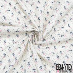 Toile Lorraine 100% coton Impression Motif petite fleur ton rose et bleu Fond écru