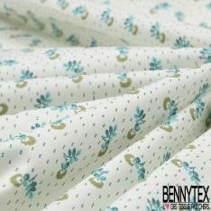 Toile Lorraine 100% coton Impression Motif petite fleur ton vert et turquoise Fond écru