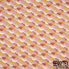 Toile Lorraine 100% coton Impression Motif parasol rose moutarde et rouge