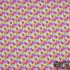 Toile Lorraine 100% coton Impression Motif formes divers ton violet