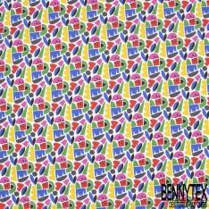 Toile Lorraine 100% coton Impression Motif formes divers ton bleu