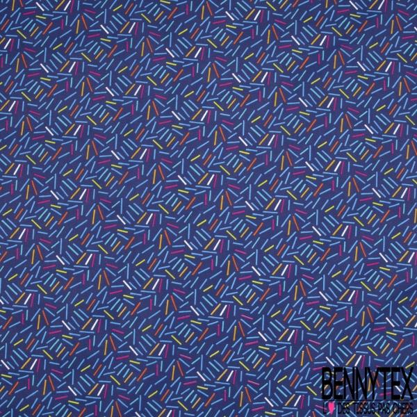 Toile Lorraine 100% coton Impression Motif trait multicolore Fond bleu