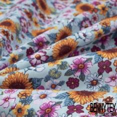 Toile Lorraine 100% coton Impression Motif fleur multicolore Fond bleu ciel