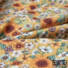 Toile Lorraine 100% coton Impression Motif fleur multicolore Fond moutarde
