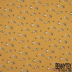 Toile Lorraine 100% coton Impression Motif oiseaux Fond ocre
