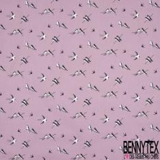 Toile Lorraine 100% coton Impression Motif oiseaux Fond lilas clair