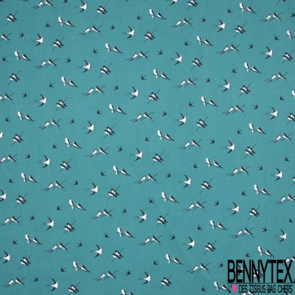Toile Lorraine 100% coton Impression Motif oiseaux Fond bleu émeraude