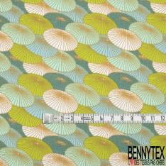 Toile Lorraine 100% coton Impression Motif parasol ton bleu et vert