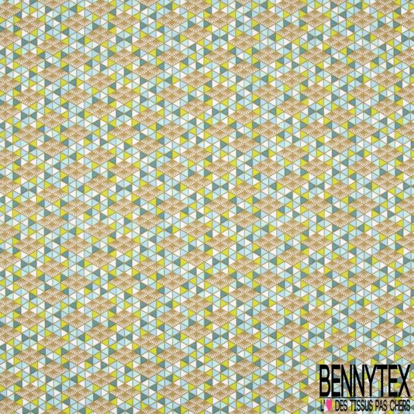 Toile Lorraine 100% coton Impression Motif triangle doré vert et bleu