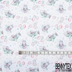Toile Lorraine 100% coton Impression Motif lapin dans un avion Fond blanc