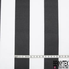 Coton Enduit Impression grande rayure noir et blanc