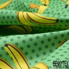 Coton Enduit Impression grande banane et pois Fond vert