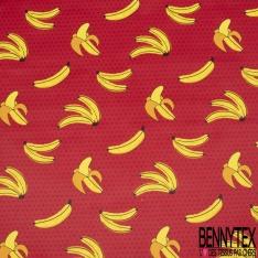 Coton Enduit Impression grande banane et pois Fond rouge