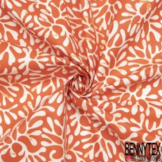 Coton Enduit Impression algue Fond orange